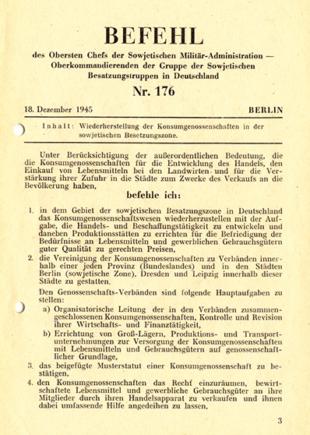 Befehl Wiederherstellung Konsumgenossenschaften 1945