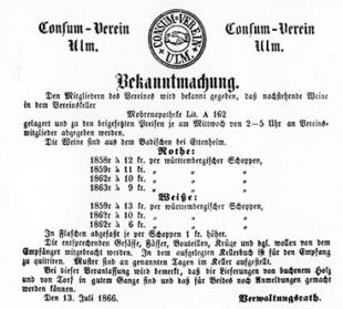 Bekanntmachung Konsumverein Ulm 1866