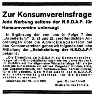 Konsumvereinsfrage 1933