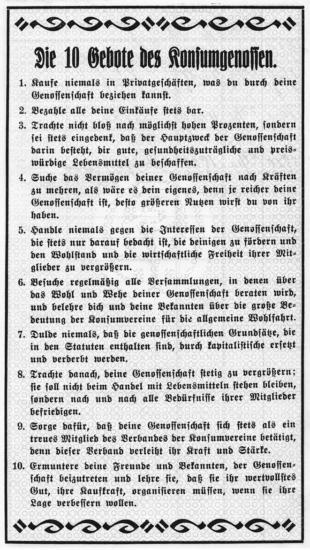 10 Gebote der Konsumgenossen 1929
