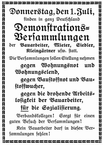 Demonstration Wohnungsnot 1910