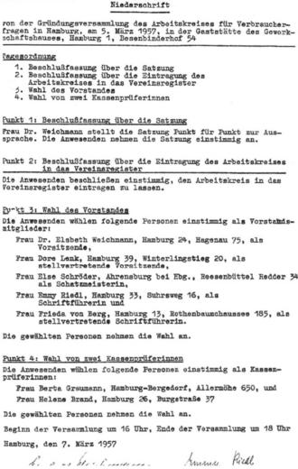 Gründung Verbraucherfragen 1957