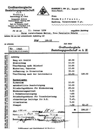 Rechnung Bestattungsgesellschaft 1938
