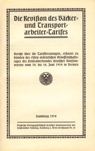 Revision Bäcker Transportarbeiter Tarif 1914