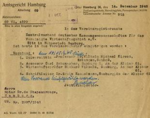 Vereinsregister Eintrag ZdK1948