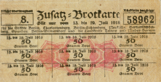 Zusatz Brotkarte 1918